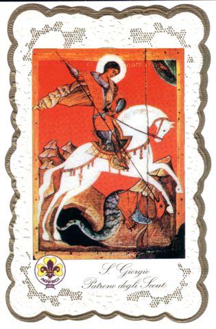 cartolina su San Giorgio che uccide il drago