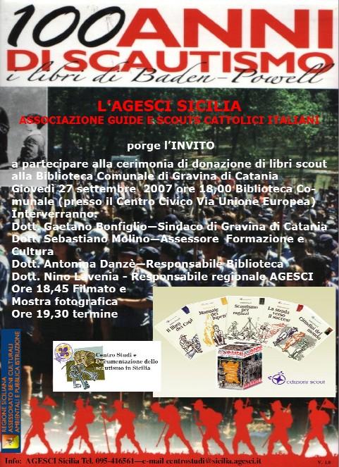 Locandina donazione libri biblio Gravina di Catania